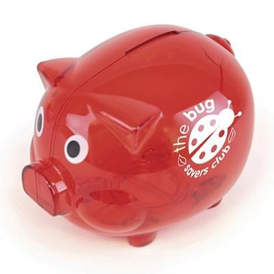 Picture of PIGGY BANK in Red Plastic Translucent Piggy Bank