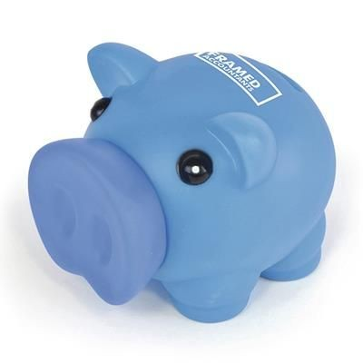 Picture of RUBBER NOSED PIGGY BANK in Blue