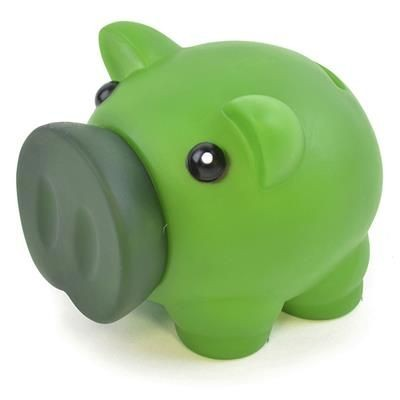 Picture of RUBBER NOSED PIGGY BANK in Green