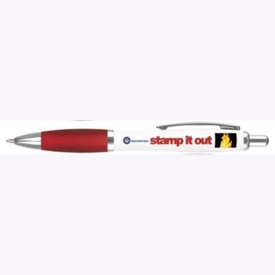 Picture of CONTOUR DIGITAL BALL PEN in White with Red Grip
