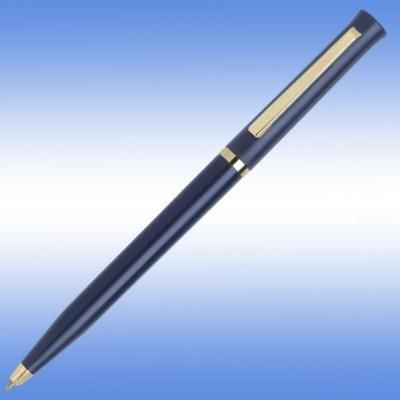 Picture of SIGNATURE BALL PEN in Blue with Gold Gilt Trim