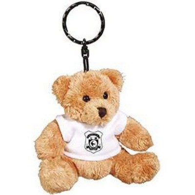 Picture of 4 INCH TALL ROBBIE BEAR KEYRING with White Tee Shirt