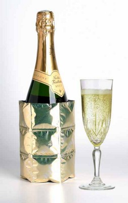 Picture of LUXURY CHAMPAGNE WINE BOTTLE COOLER in Gold Finish Satin Wrap