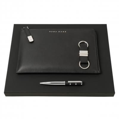 Picture of HUGO BOSS SET HUGO BOSS BALL PEN, CONFERENCE FOLDER A5 & KEYRING