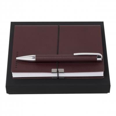 Picture of HUGO BOSS SET STORYLINE BURGUNDY BALL PEN & NOTE PAD A6