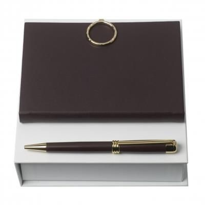 Picture of NINA RICCI SET BOUCLE BORDEAU BALL PEN & NOTE PAD A6