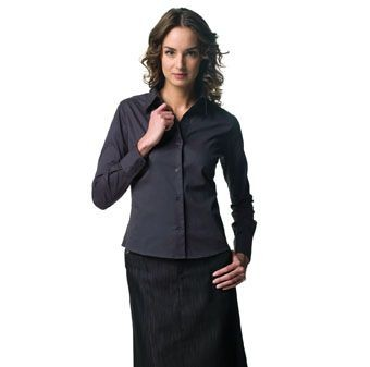 Picture of RUSSELL COLLECTION LADIES LONG SLEEVE CLASSIC TWILL SHIRT