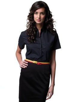 Picture of RUSSELL COLLECTION LADIES SHORT SLEEVE EASY CARE POPLIN SHIRT