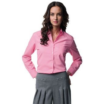 Picture of RUSSELL COLLECTION LADIES LONG SLEEVE EASY CARE COTTON POPLIN SHIRT