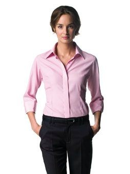 Picture of RUSSELL COLLECTION LADIES THREE QUARTER SLEEVE TENCEL CORPORATE SHIRT