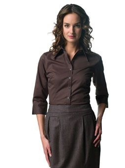 Picture of RUSSELL COLLECTION LADIES THREE QUARTER SLEEVE TENCEL FITTED SHIRT