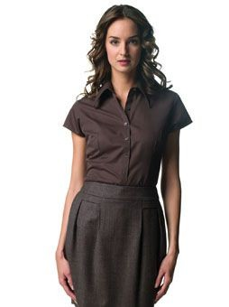 Picture of RUSSELL COLLECTION LADIES CAP SLEEVE TENCEL FITTED SHIRT