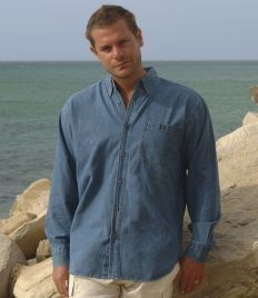 Picture of FRONT ROW LONG SLEEVE LIGHTWEIGHT DENIM SHIRT