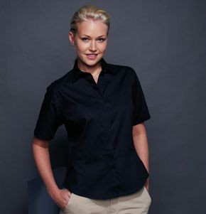 Picture of HENBURY LADIES SHORT SLEEVE OXFORD SHIRT