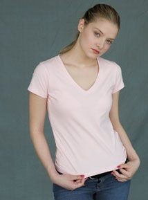 Picture of SKINNI FIT MODERN ESSENTIAL V NECK LADIES TEE SHIRT