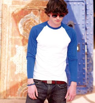 Picture of FRUIT OF THE LOOM CONTRAST LONG SLEEVE BASEBALL TEE SHIRT