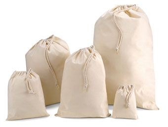Picture of COTTON STUFF DRAWSTRING BAG in Natural