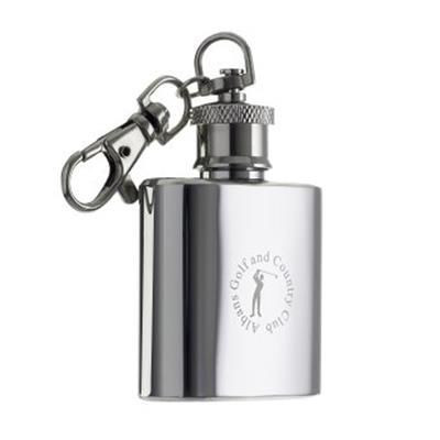 Picture of HIP FLASK KEYRING in Silver Stainless Steel Metal
