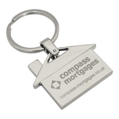 Picture of HOUSE SHAPE METAL KEYRING in Silver