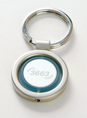 Picture of ZEBRA ROUND SPINNING KEYRING in Matt Silver Finish with Blue Trim Around Spinning Section