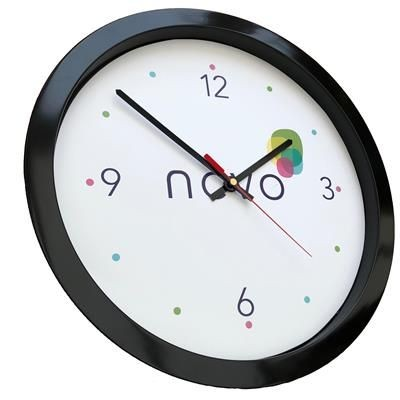 Picture of ROUND PLASTIC WALL CLOCK in Black