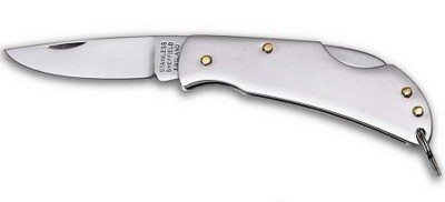 Picture of KEYRING LOCK KNIFE with SINGLE BLADE in Polished Silver Stainless Steel