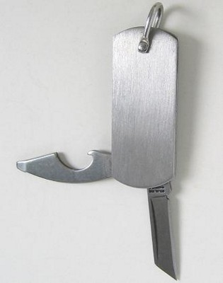 Picture of KEYRING KNIFE with BOTTLE OPENER & SCREWDRIVER in Satin Silver Stainless Steel