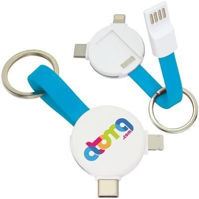 Picture of MAGNETIC ROUND USB CABLE KEYRING - 3-IN-1
