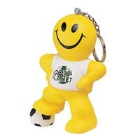 Picture of STRESS SMILEY FOOTBALL MAN KEYRING in Yellow & White