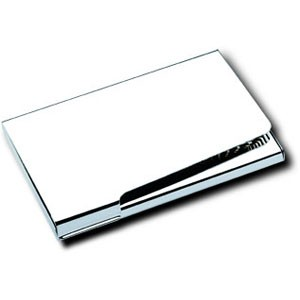 Picture of NEW YORKER EXECUTIVE POCKET BUSINESS CARD HOLDER in Shiny Nickel Plated Metal Finish