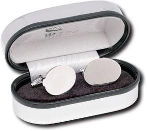 Picture of OVAL CUFF LINKS SILVER FINISH RHODIUM PLATED in Silver Chrome Silver Box