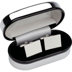 Picture of RECTANGULAR CUFF LINKS SILVER FINISH RHODIUM PLATED