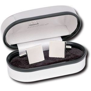 Picture of SQUARE CUFF LINKS SILVER FINISH RHODIUM PLATED