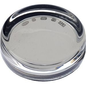 Picture of EXECUTIVE GLASS PAPERWEIGHT with Hallmarked 925 Sterling Silver Base