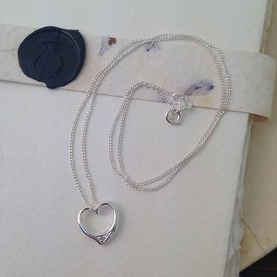 Picture of HALLMARKED 925 STERLING SILVER HEART NECKLACE with Crystal