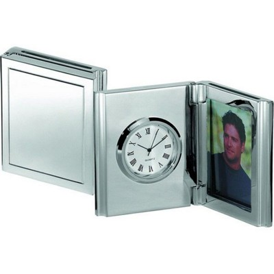 Picture of FOLDING DESK CLOCK & PHOTOFRAME in Silver