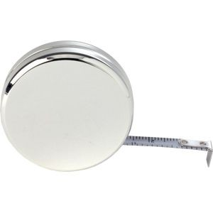Picture of SILVER PLATED METAL ROUND METAL TAPE MEASURE in Silver Plated Metal Case