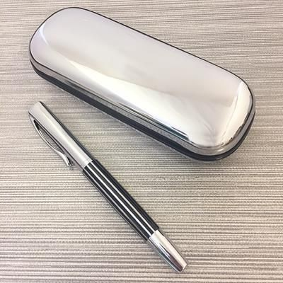 Picture of STRIPE ROLLERBALL PEN in Silver Chrome Box