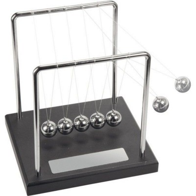 Picture of CLASSIC NEWTONS CRADLE EXECUTIVE DESK TOY in Black & Silver