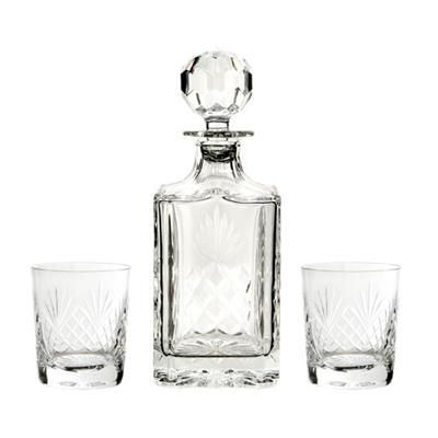 Picture of CUT SQUARE CRYSTAL GLASS DECANTER & 2 TUMBLERS