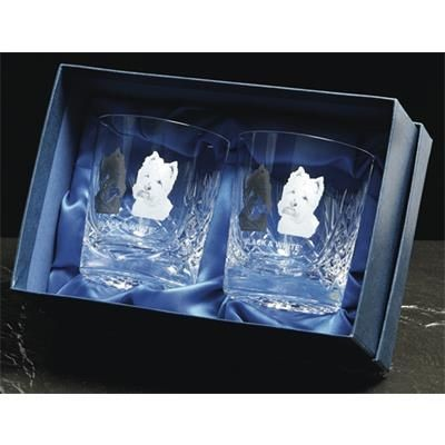 Picture of PAIR OF HEAVY CUT CRYSTAL GLASS TUMBLERS