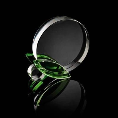 Picture of CHUNKY ROUND CRYSTAL AWARD with Green Leaf Stand