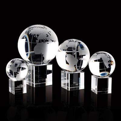 Picture of CRYSTAL 100MM GLOBE ON CLEAR TRANSPARENT CUBE