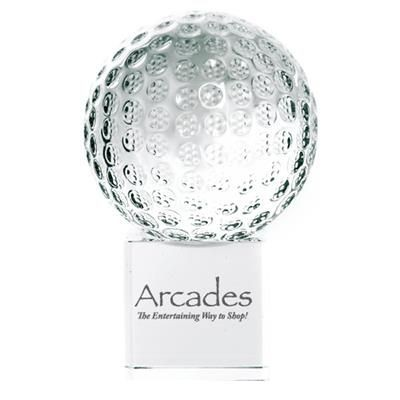 Picture of CRYSTAL 60MM GOLF BALL ON CLEAR TRANSPARENT CUBE