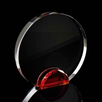 Picture of LARGE ROUND CRYSTAL FRAME with Red Crystal Facet Stand