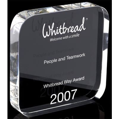 Picture of OPTICAL CRYSTAL SQUARE TROPHY AWARD with Rounded Corners