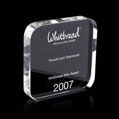 Picture of SQUARE CRYSTAL AWARD with Rounded Corners