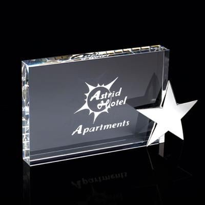 Picture of CRYSTAL RECTANGULAR CUBE BLOCK AWARD with Silver Chrome Star