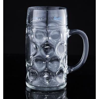 Picture of HALF LITRE GERMAN STEIN HEAVY TANKARD with Panel