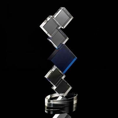 Picture of MOUNTED CRYSTAL SQUARE TOWER AWARD with Central Blue Star